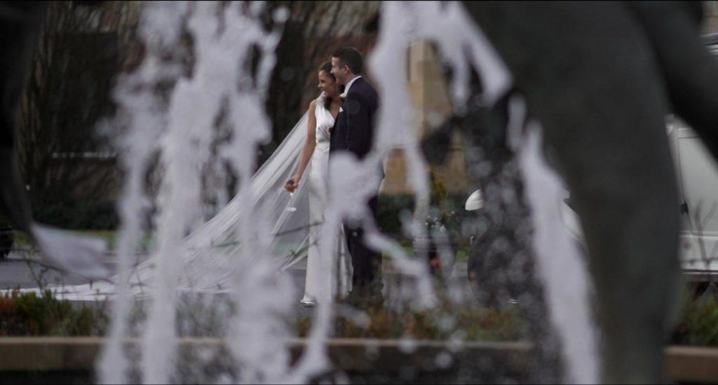 waterfall castle salmon bride groom