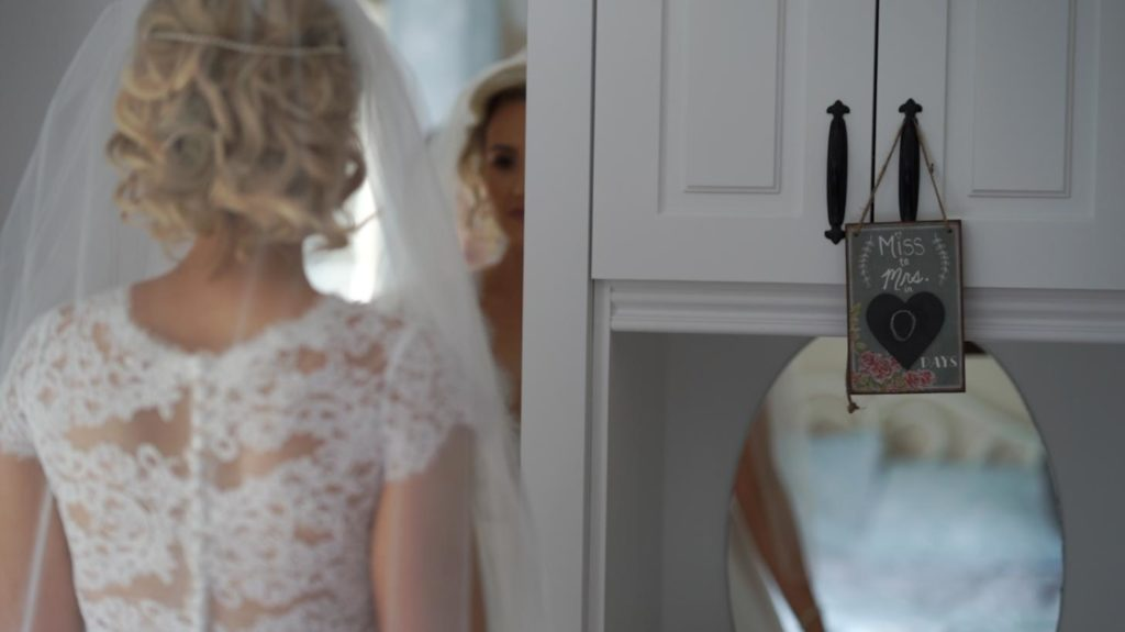 bride reflection mirror