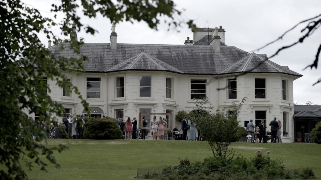 rathmullan house wedding guests outside mingle reception donegal classic house