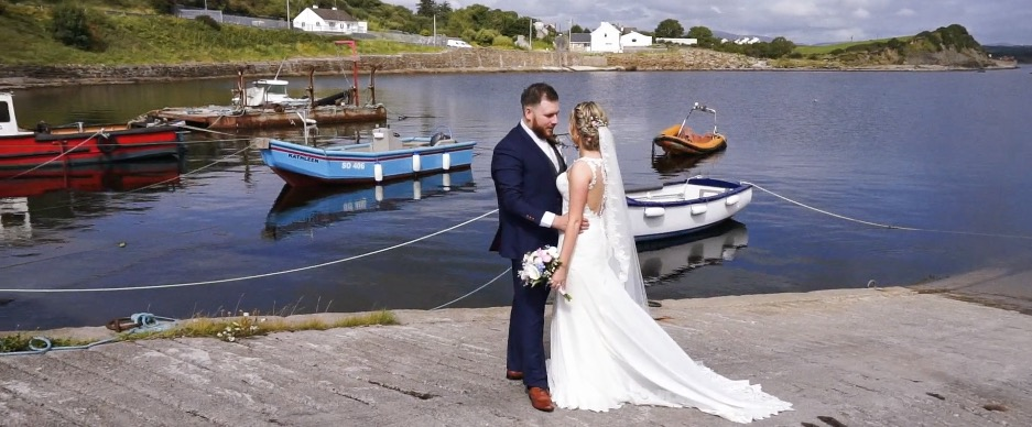 bdie groom couple water boats pier scenery donegal before mill park hotel wedding reception