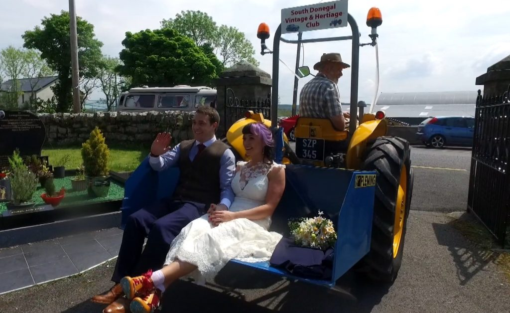bride and groom tractor linkbox leave chapel