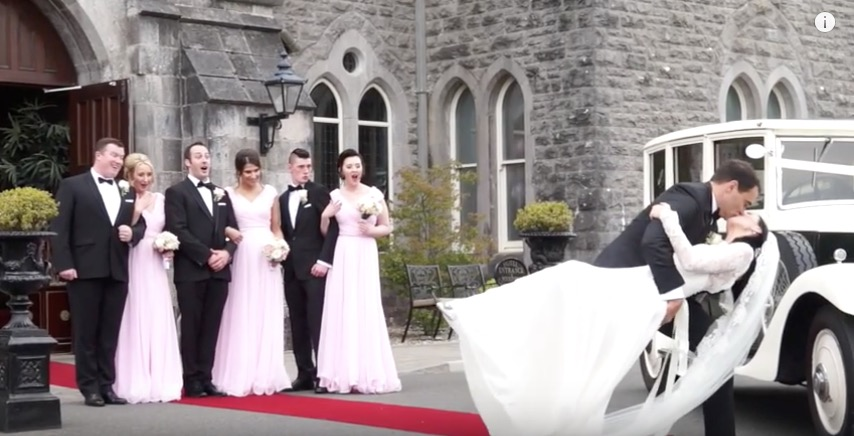bride groom kiss outside kilronan castle wedding venue