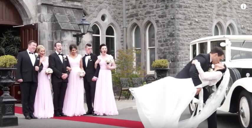 bride groom kiss outside kilronan castle wedding venue