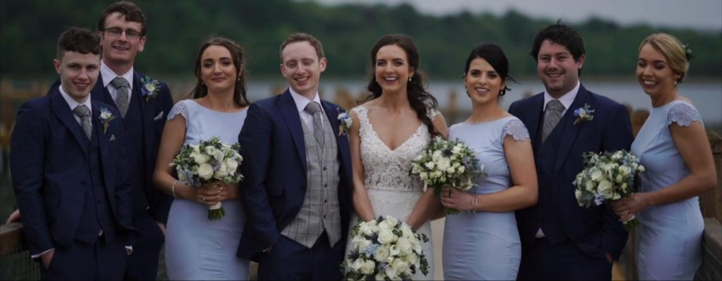 bridal party bridesmaids groomsmen flowers bridge lough erne wedding video still