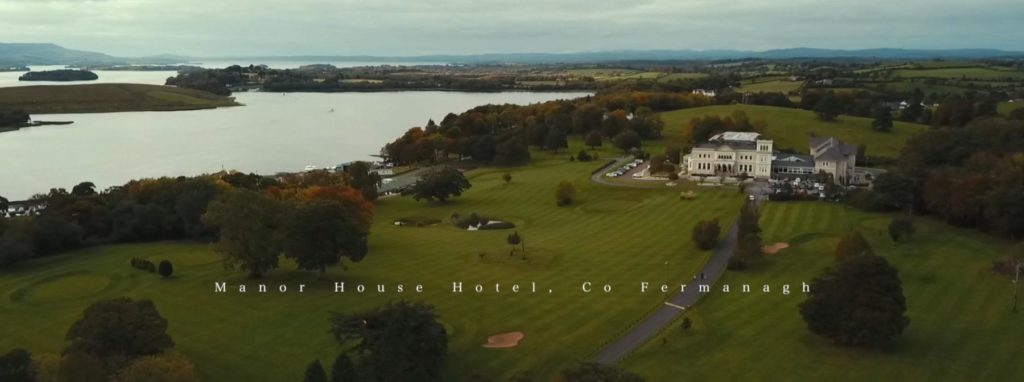 Aerial Drone manor house wedding