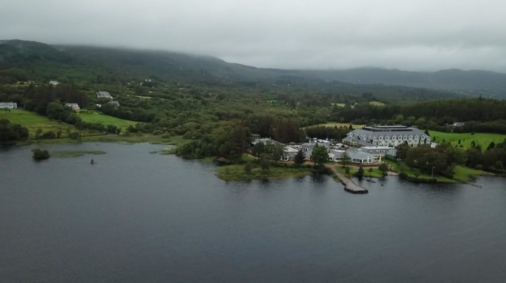 Aerial Drone film from wedding of Harveys Point and Lough Eske