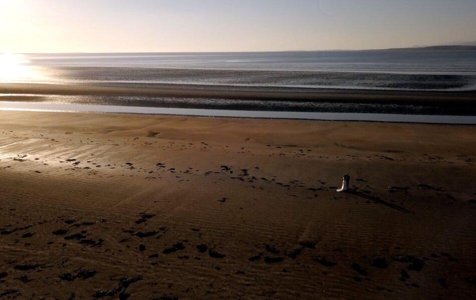 Clodagh Roper and Stephen Brady on Murvagh Beach on their wedding day