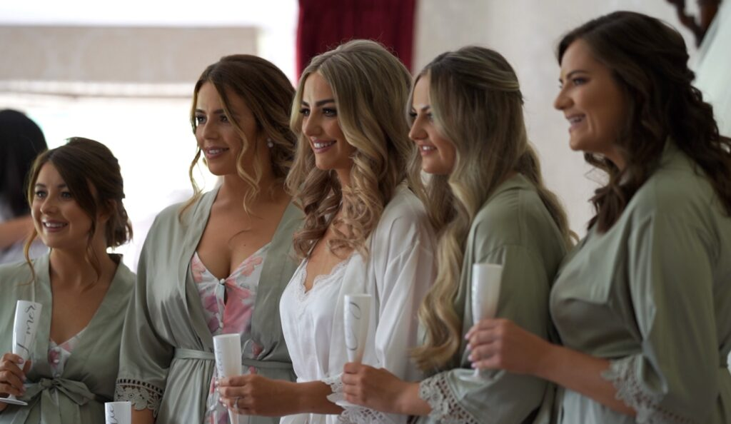 Rebecca and bridesmaids before the ceremony